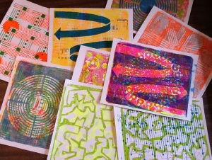 4-15-14 Gelli Prints on Cardstock