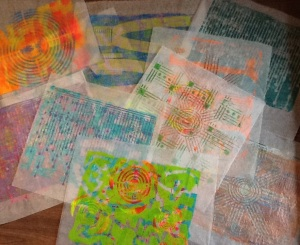 4-15-14 Gelli Prints on Deli Paper